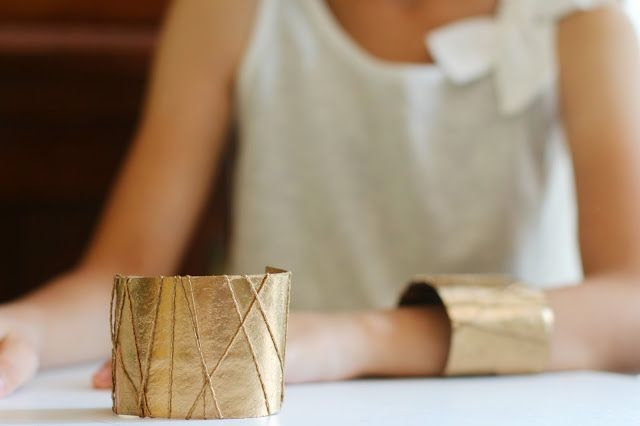 Gold Cuff Bracelets out of toilet paper rolls