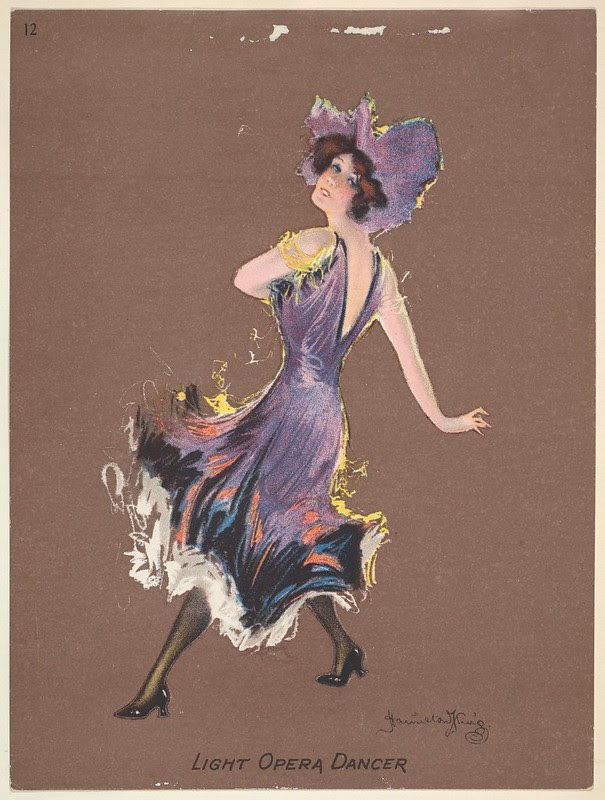 action sketch of a woman dancing wearing an early 20th cent. purple dress