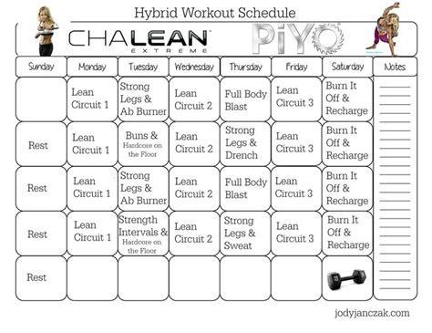 chalean extreme piyo hybrid workout  week plan