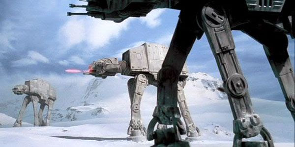 Imperial Walkers wreak havoc during the Battle of Hoth in THE EMPIRE STRIKES BACK.