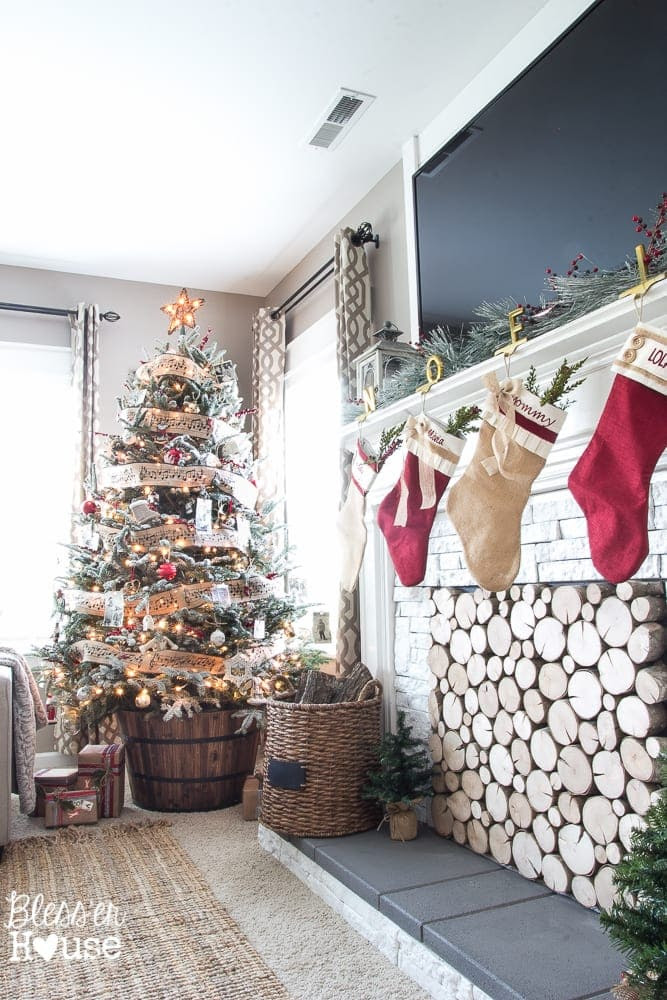 Woodland Christmas Home Tour 2015 Part 1   blesserhouse.com   faux fireplace and barrel tree stand