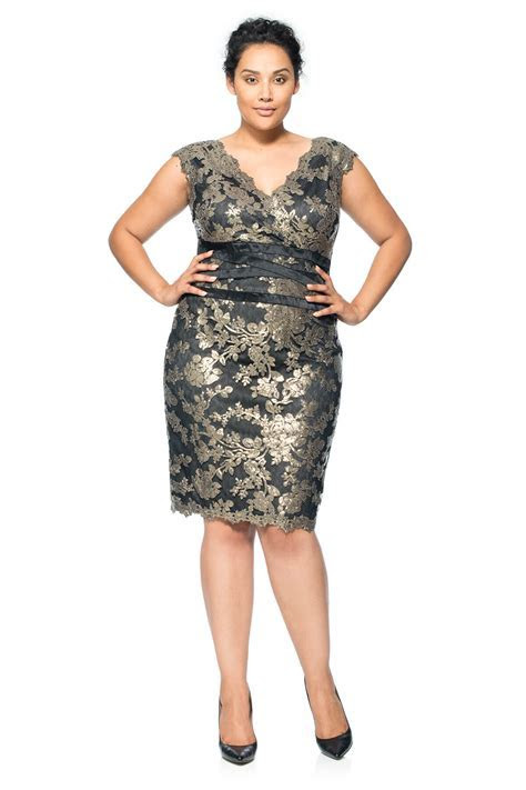 Paillette Embroidered Lace Banded Dress   PLUS SIZE