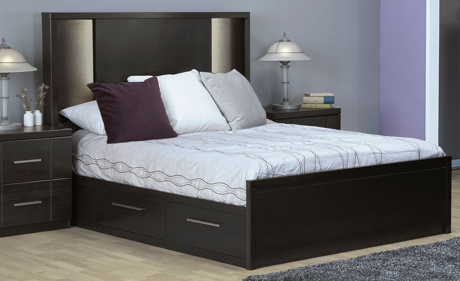 Seville Queen Storage Bed - Charcoal | Leon's