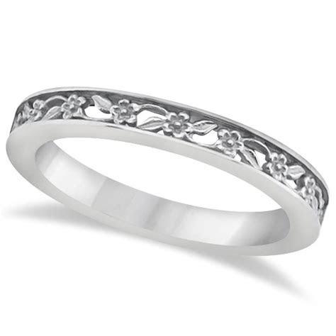 Flower Carved Wedding Ring Filigree Stackable Band 14kt
