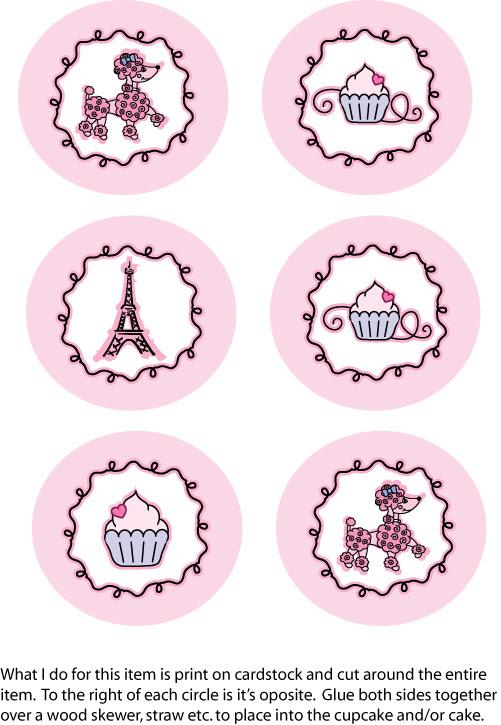 Toppers o Etiquetas para Imprimir Gratis de París con French Poodle.
