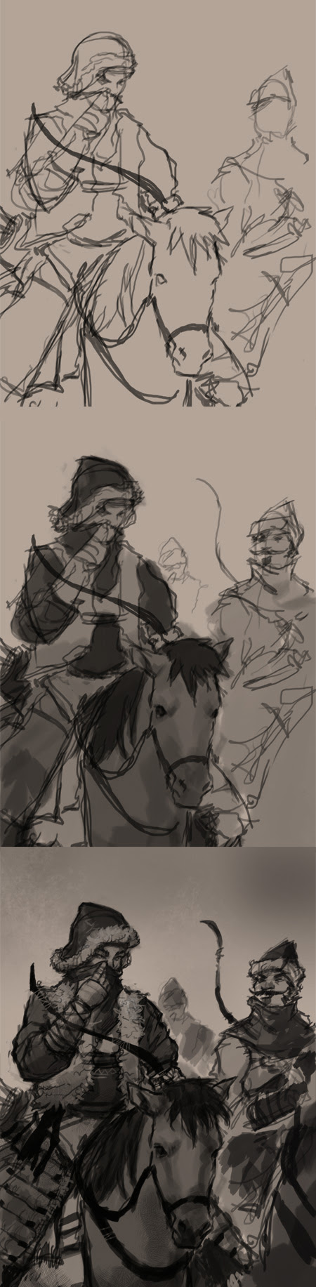 how to draw archers riding horses
