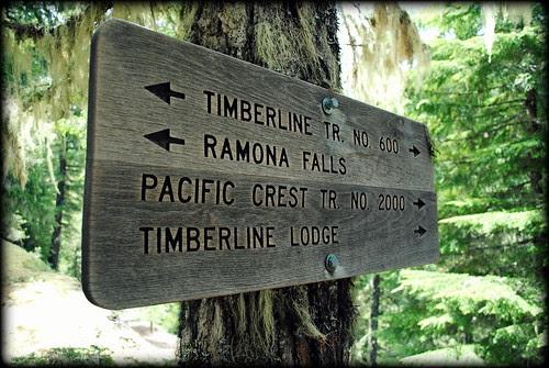 Trail sign on the Ramona Falls Trail - Mt Hood