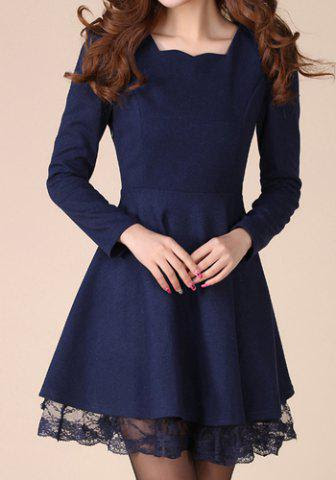 Stylish Sweetheart Neck Lacework Splicing Slimming Long Sleeve Women's Dress