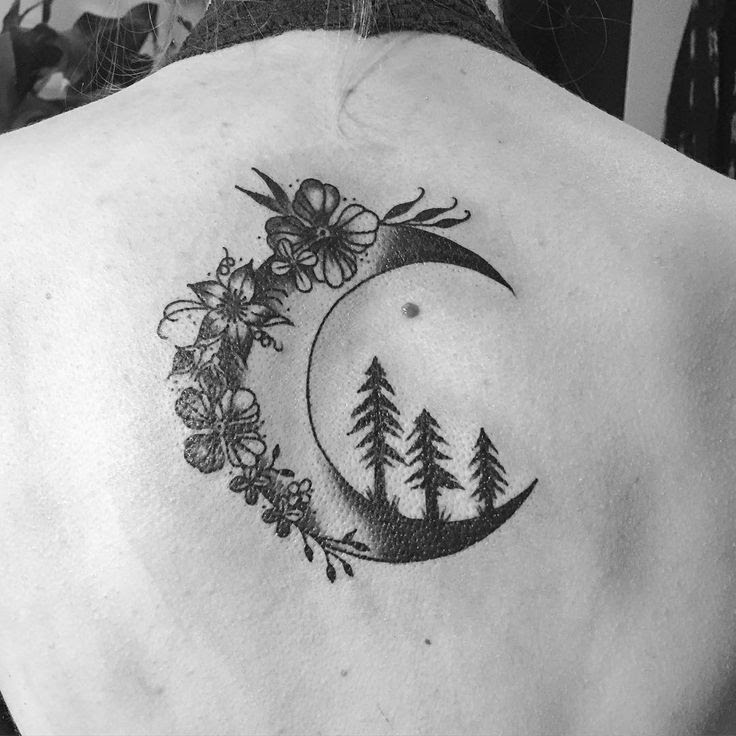 Moon And Tree Tattoo