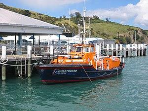 A coast guard boat tied up at Waiheke Island, ...