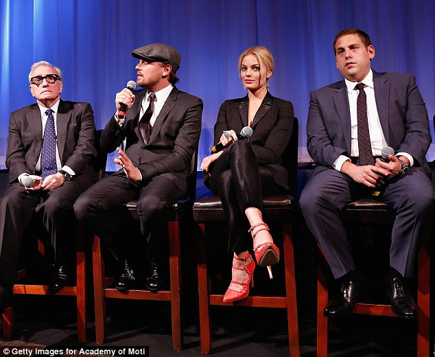 Reunited: Margot, Leo, Jonah and director Martin Scorsese also answered questions at a screening of the movie the same day