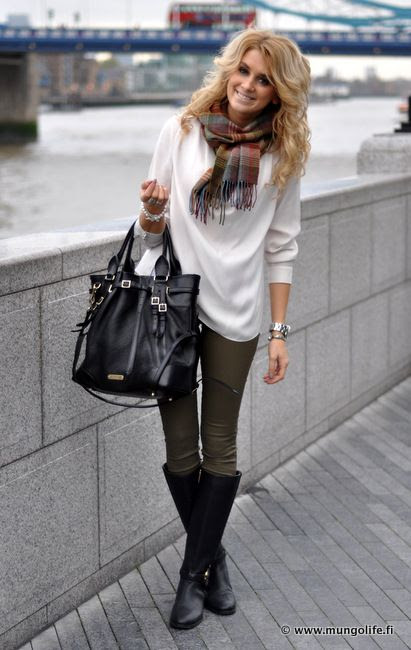 Olive pants, White sweater, Black accents. Cute for City Style.