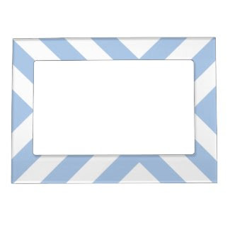 Light Blue and White Chevrons Magnetic Picture Frames