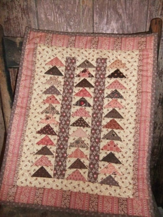 Quilted Wall Hanging Pink and Brown Flying Geese Miniature Quilt
