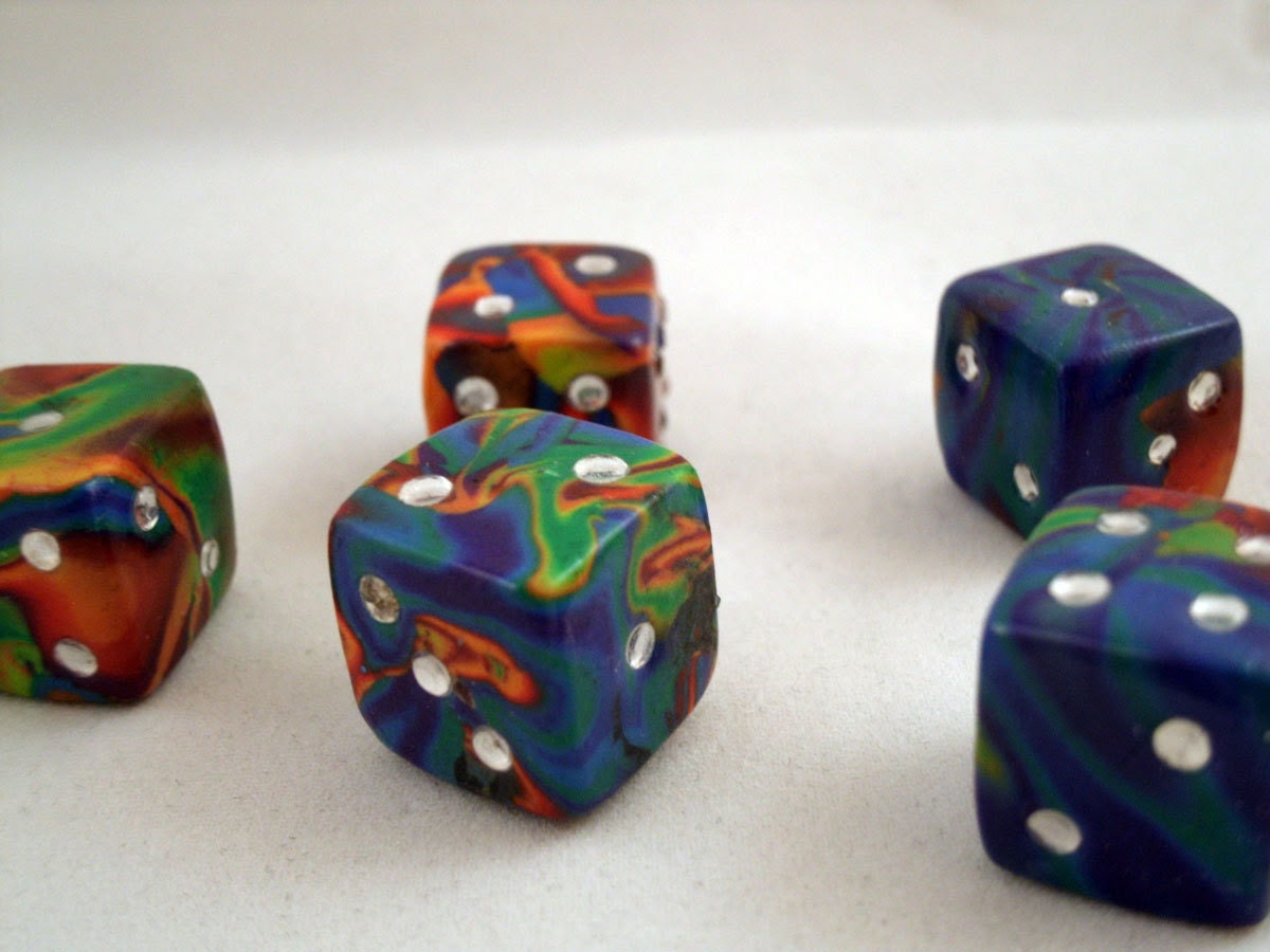 Pair of Rainbow Multi-Colored Unique Dice (Six Sided - D6)