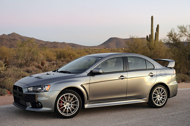 2013 Mitsubishi Lancer Evolution X, front three-quarter view.