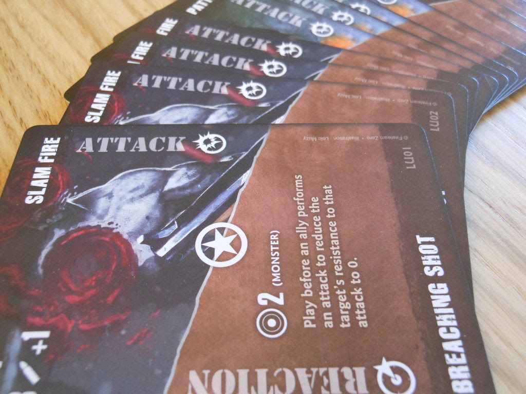 Attractive arrangement of advances action cards from the Fireteam Zero board game.
