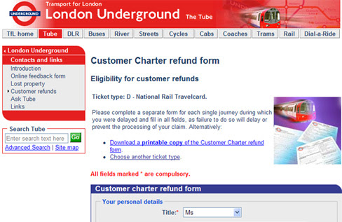 Customer Charter London Transport Refund Form