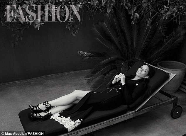 Laid back: Olivia Munn got leggy in heels for a new, stark spread shot by photographer Max Abadian