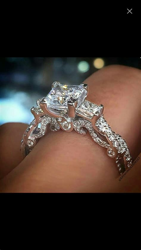 stunning engagement ring with princess diamonds, vintage