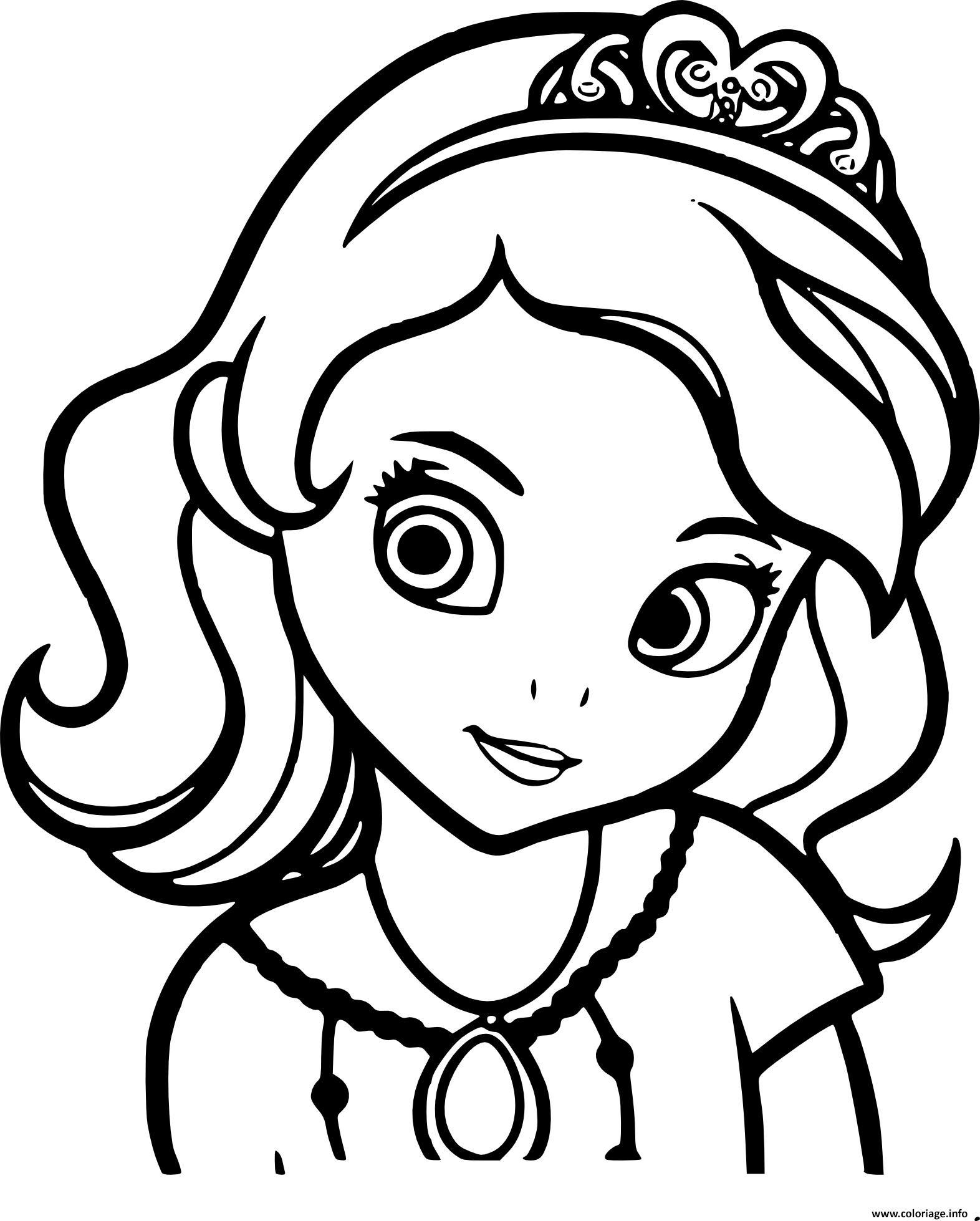 Coloriage Princesse Sofia De Face Portrait Visage Dessin  Imprimer