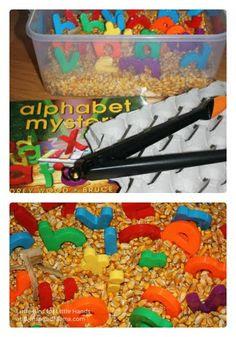 Corn & Alphabet Sensory Play