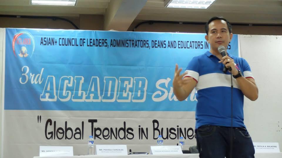 Filipino motivational speaker speaks at the ACLADEB 3rd Business Summit