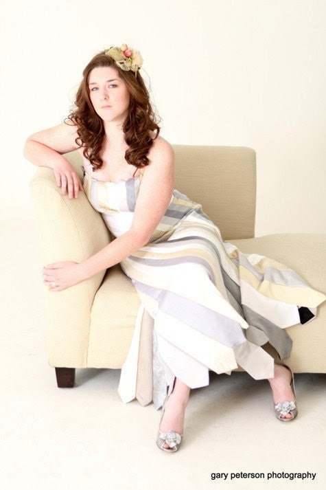 Glamarita TIE THE KNOT Custom Wedding Dress in Silver and Ivory