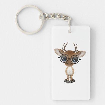 Nerdy Baby Deer Wearing Glasses Keychain
