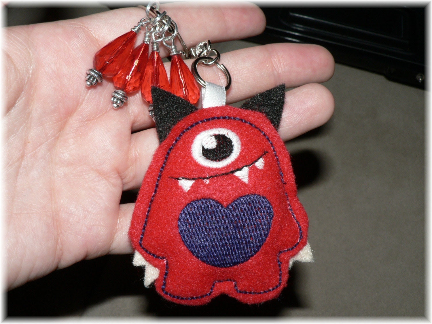Keychain Little monster and 4 stitch markers
