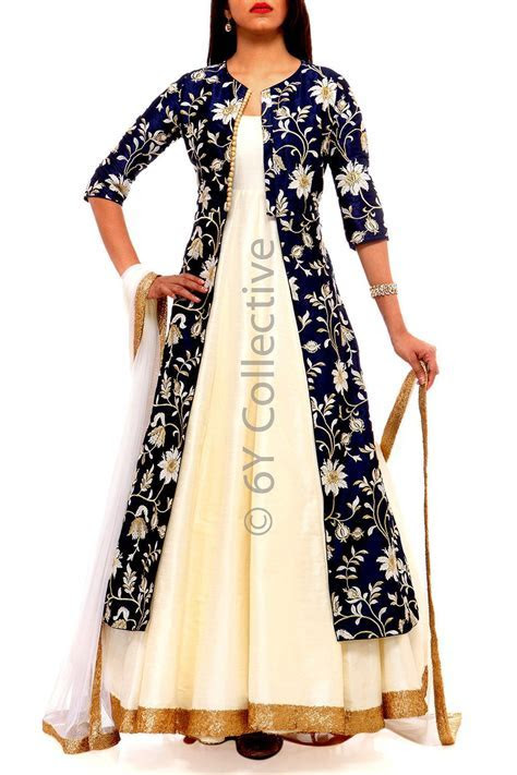 Navy Chintz Embroidery Jacket with Anarkali   Indian