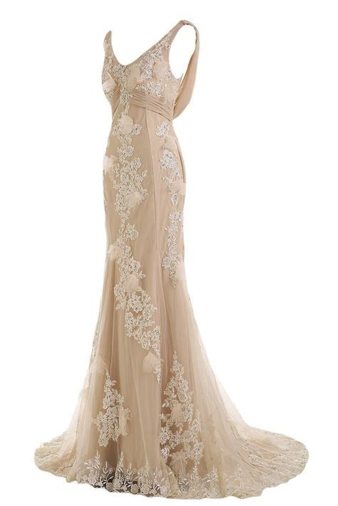 Sunvary Gorgeous Champagne Mermaid Wedding Dresses for