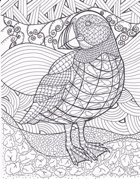 puffin zentangle coloring page  inspirationbyvicki