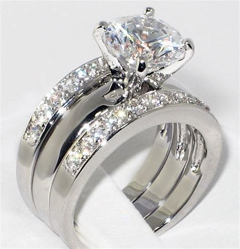Trio Diamond Engagement Ring Sets With Lily?s Faux 2.0 Ct
