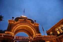 The Tivoli amusement parks main entrance at nighttime