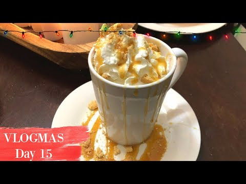 VLOGMAS DAY 15 | HOLIDAY DRINK RECIPE | COOKIE BUTTER WHITE HOT CHOCOLATE