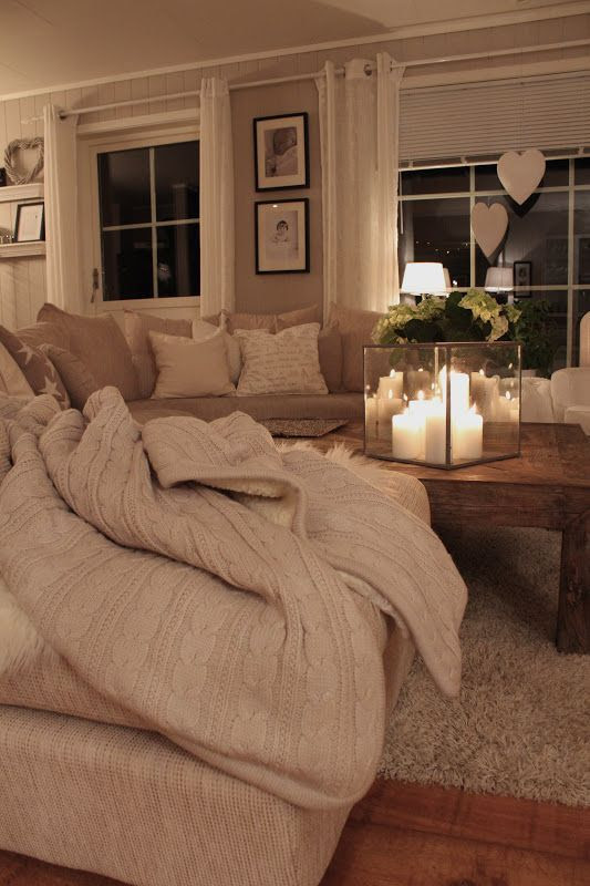 cozy- my house WILL look like this in the fall and winter... Chunky blankets everywhere!!!