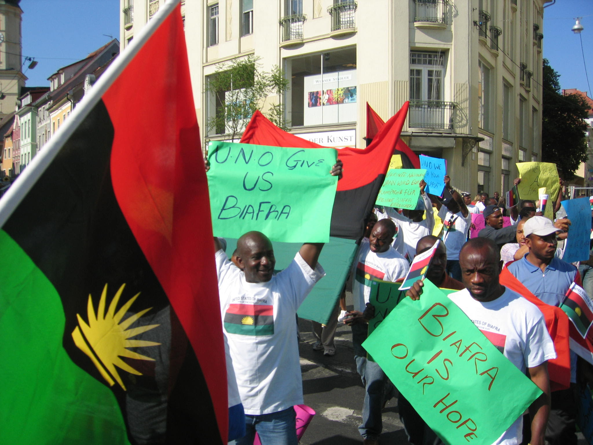 Biafra march and protest taking place in London.