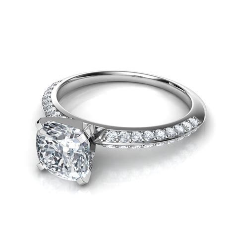 Two Row Knife Edge Pavé Diamond Engagement Ring Natalie
