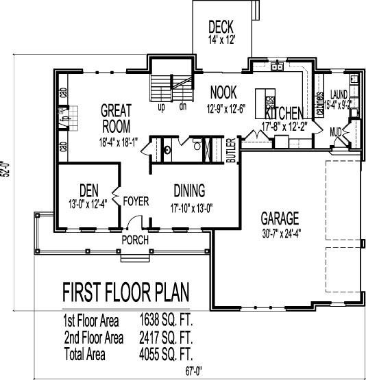 2 Story 4 Bedroom Farmhouse House Floor Plans Blueprints