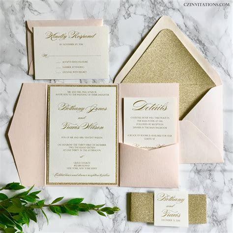 Blush and Gold Glitter Pocket Wedding Invitations by
