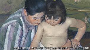 "Detalle de ""El baño del niño"", de Mary Cassatt"