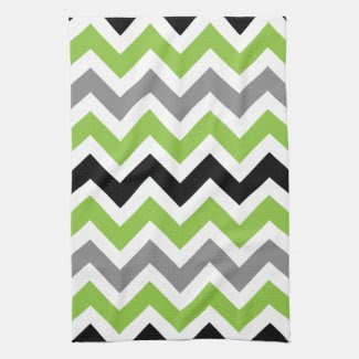 Lime Gray Black White Chevron Kitchen Towels
