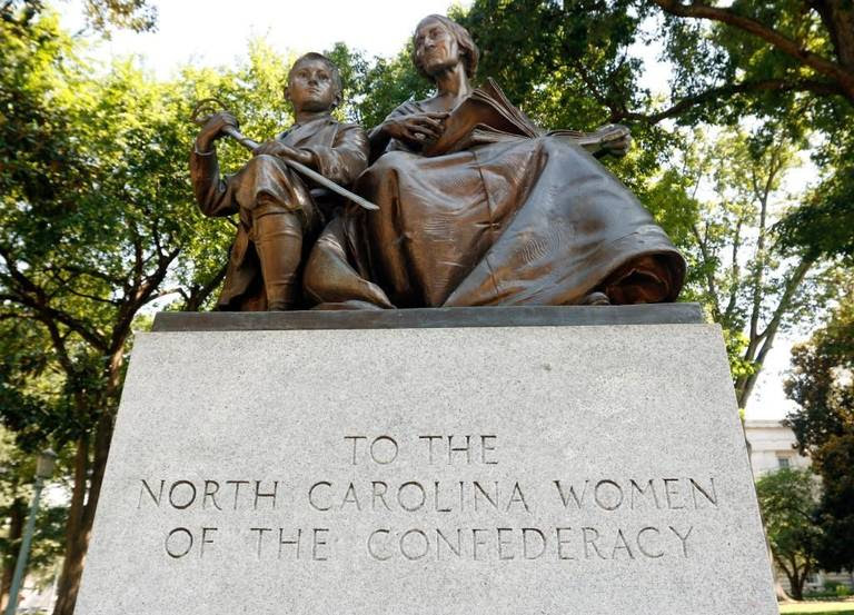 This June 23, 2015 file photo shows the statue To The North Carolina Women of the Confederacy on the NC State Capitol grounds.