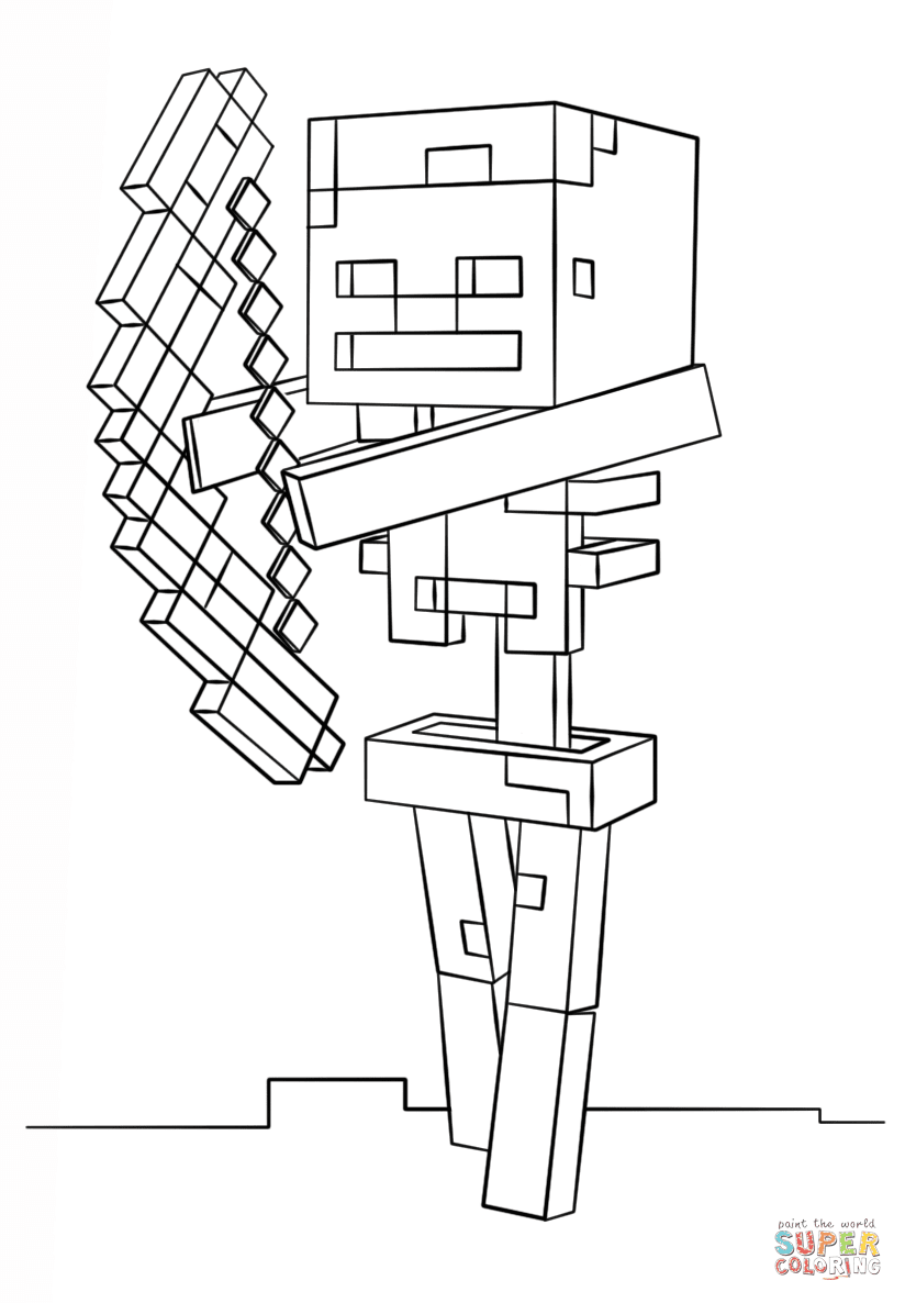 Minecraft Skeleton with Bow from Minecraft Coloring Page ...