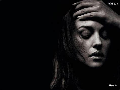 monica bellucci black  white sad face wallpaper