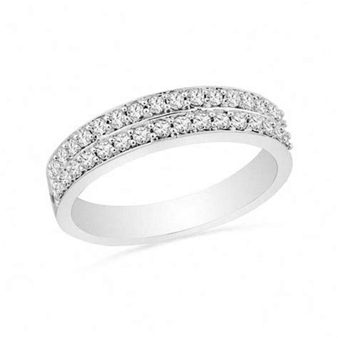 1/3 CT. T.W. Diamond Double Row Wedding Band in 10K White