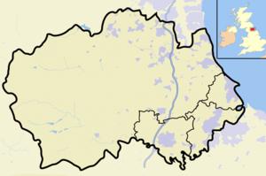 Map of County Durham, England, United Kingdom,...