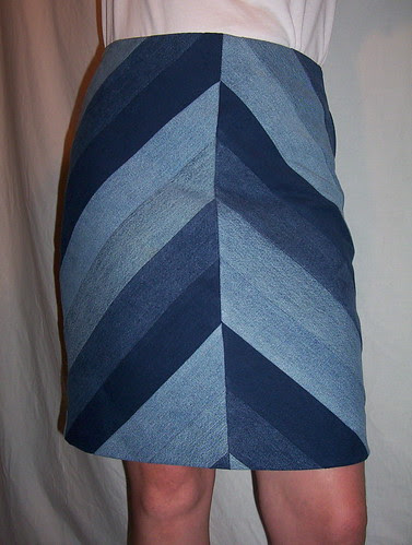 Reconstructed Bias Denim Skirt-Chevron