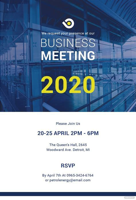 Free Business Meeting Invitation Template in PSD, MS Word